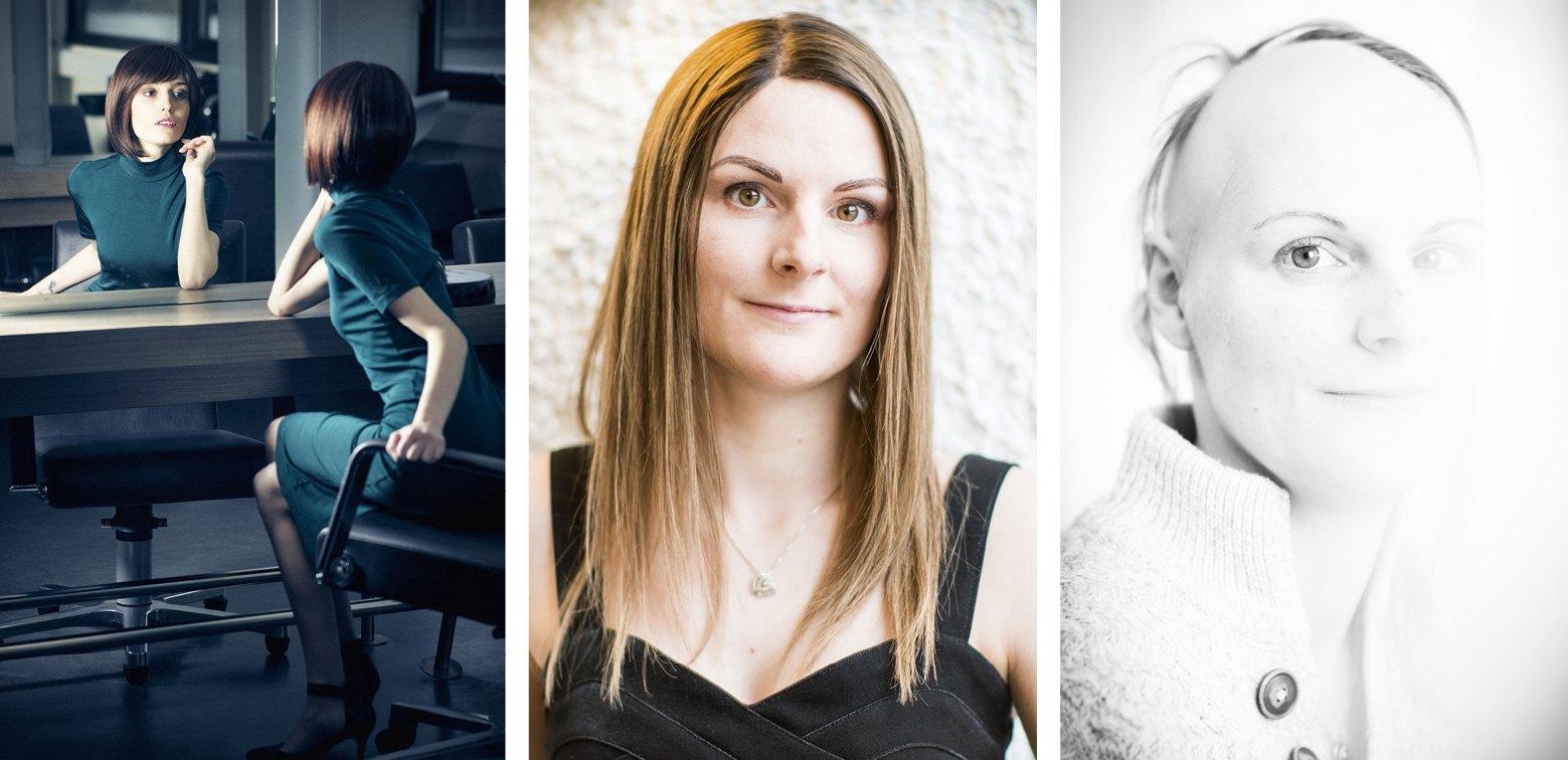 Tre bilder ved siden av hverandre, en kvinne på hvert bilde. Til venstre kvinne som speiler seg, i midten portrett med langt hår, til høyre skallet kvinne.